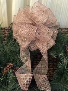 Sale Rose Gold Glitter Christmas Tree Topper Wreath Gift Wrap Bow 8 Ebay