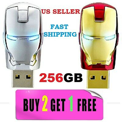 256GB Iron Man USB 2.0 Flash Memory Stick Pen Drive Storage Thumb NEW FAST SHIPP