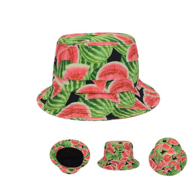 Watermelons Fruit Hawaiian Boonie Bucket Hat Outdoor Fisherman Fishing Sun Cap