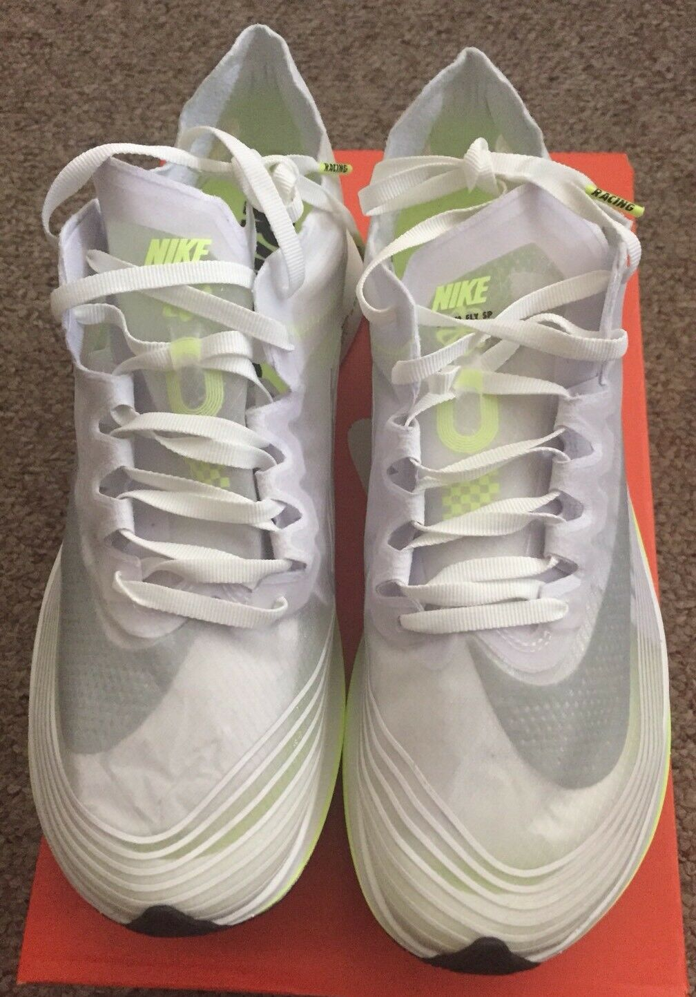 Nike Zoom Fly Sp White Volt Glow 3M Boston City Pack Mens Size 9 Not Off White