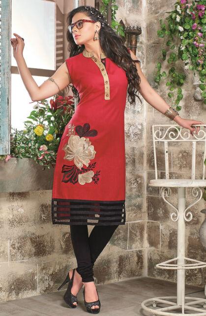 Pretty Straight Cotton Red Kurti / Kurta