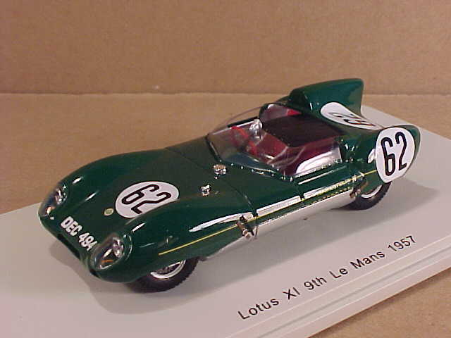 Spark  S4398 1 43 Resin Lotus XI, 9th Place 1957 LeMans Frazer & Chamberlain