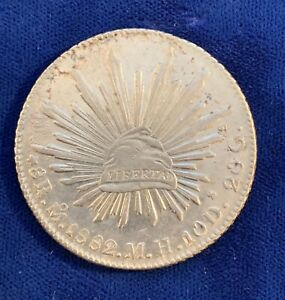 MEXICO MEXICO CITY MINT 1882-MoMH 8 REALES SILVER COIN, ALMOST UNCIRCULATED
