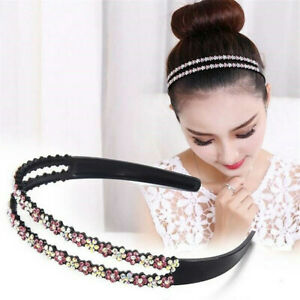 Women-039-s-Hairband-Crystal-Headband-Flower-Rhinestone-Hair-Bands-Hoop-Accessories