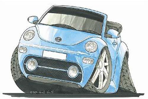 Volkswagen VW Beetle Cabrio Printed Koolart Cartoon T Shirt 1737 More Colors