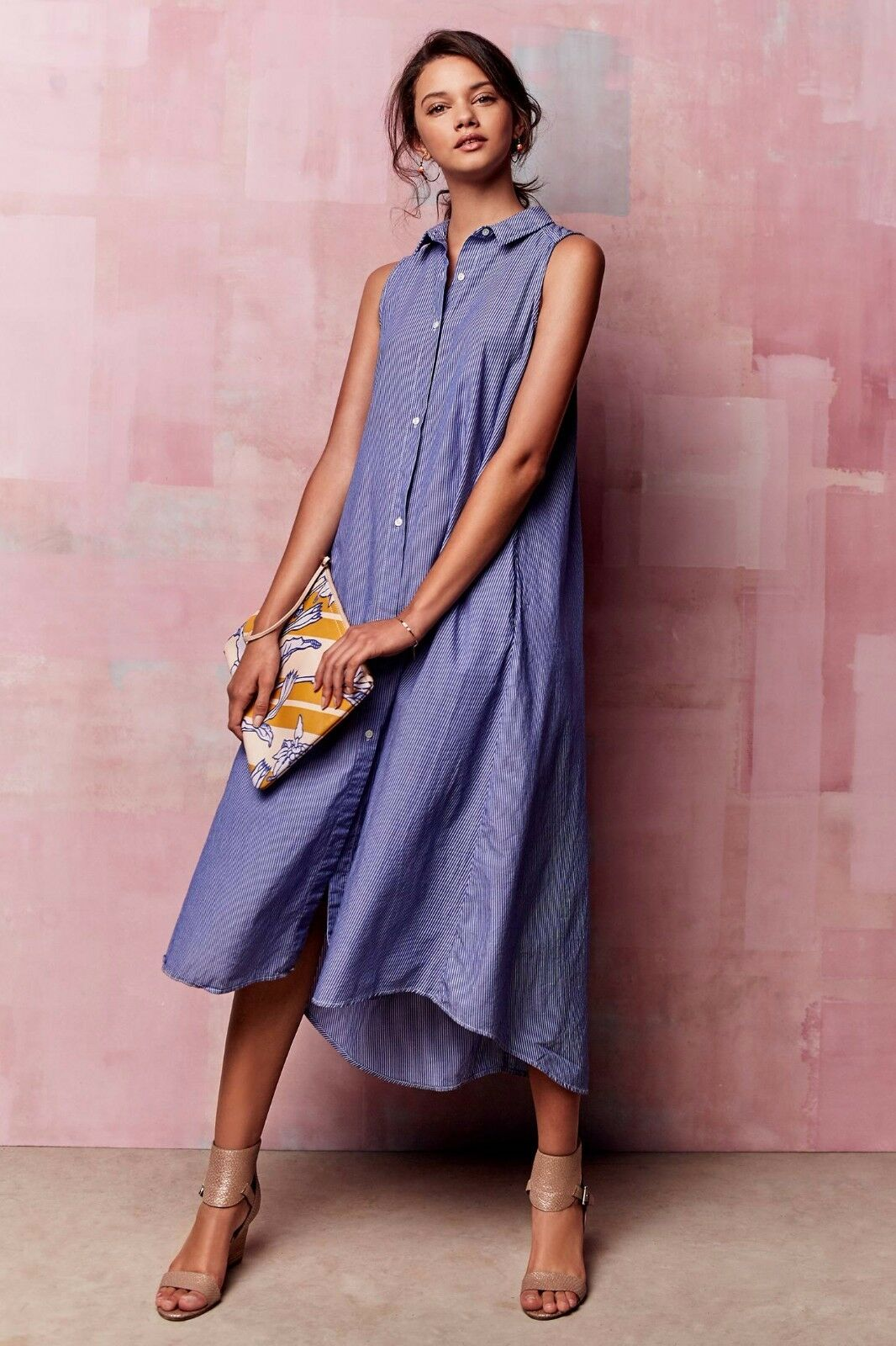 NEW ANTHROPOLOGIE by Maeve Savile Midi Dress, Sz 00, 0, Pinstripe shirtdress