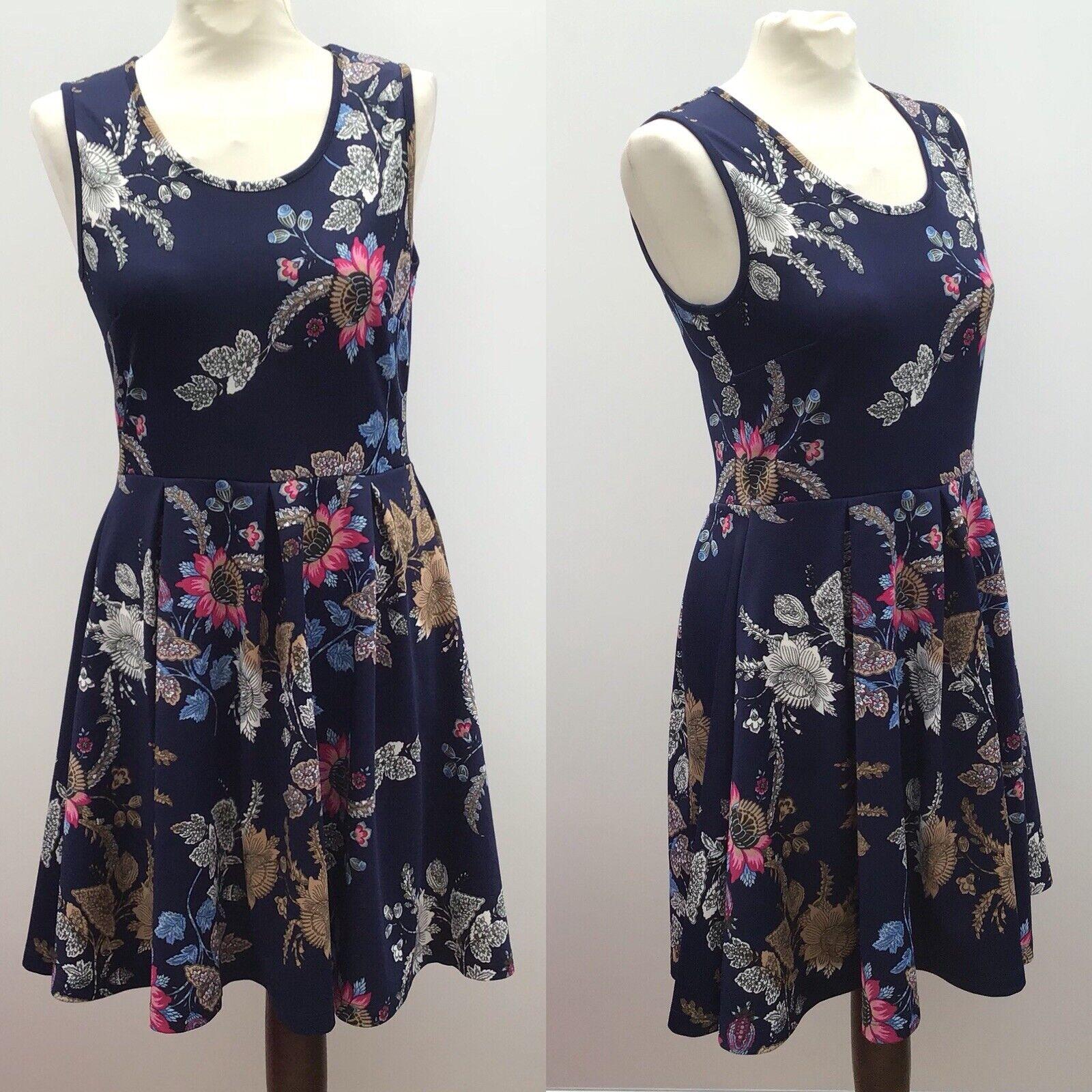 Joe Browns Navy bluee Floral Print Sleeveless Dress Size 10