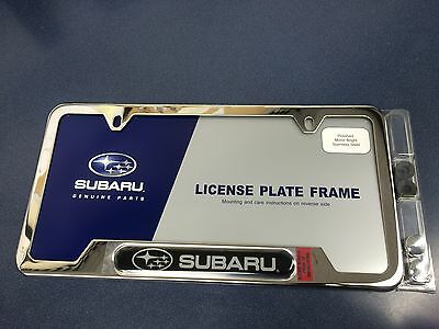 "Genuine Subaru Steel License Plate Frame SOA342L127  ""Subaru"" logo Oem New"
