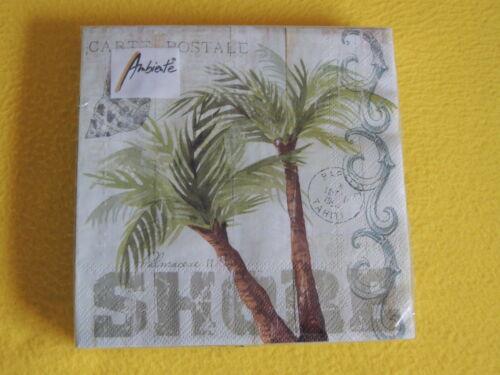 20 Serviettes Palmiers Arbres CARTE POSTALE Palm Tree 1 boîte neuf dans sa boîte Motif Serviettes Amb