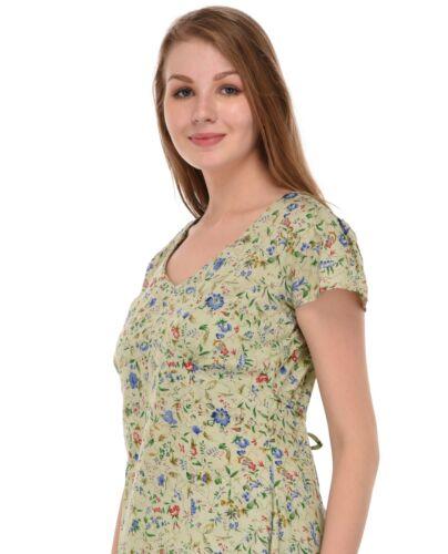 Classic Printed V-neckline Dress with Cap SleevesCotton Lane
