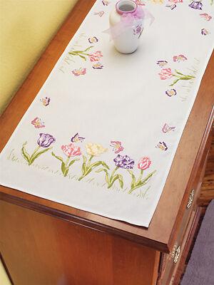 Janlynn Embroidery Kit Tulip Garden Dresser Scarf