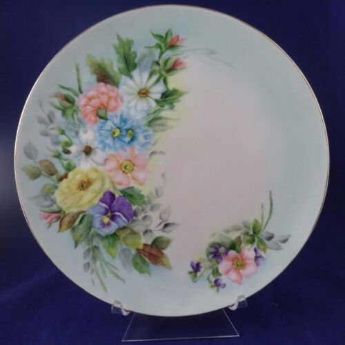"Beautiful Hand painted 10 38"" plate Floral w gold trim Signed by the artist"