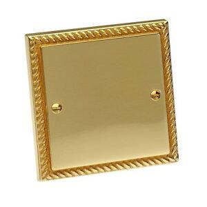 Single-Blanking-Plate-Georgian-Brass-Rope-1-Gang-Blank-Bright-Brass-Electrical