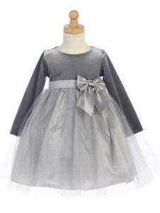 25f4b2a7acb78 Image is loading Girls-Silver-Holiday-Christmas-Dress
