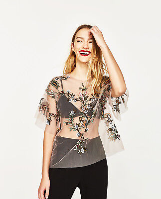 ZARA PATCH EMBROIDERED TULLE TUNIC TOP S M 8 10 UK 36 38 EU 4 6 US