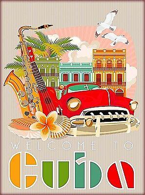 Welcome to Cuba Cuban Havana Caribbean Retro Travel Art Advertisement Poster