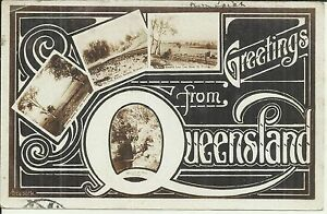 GREETINGS FROM QLD MULTI VIEWS POSTCARD WARWICK MAROON BRISBANE 1907