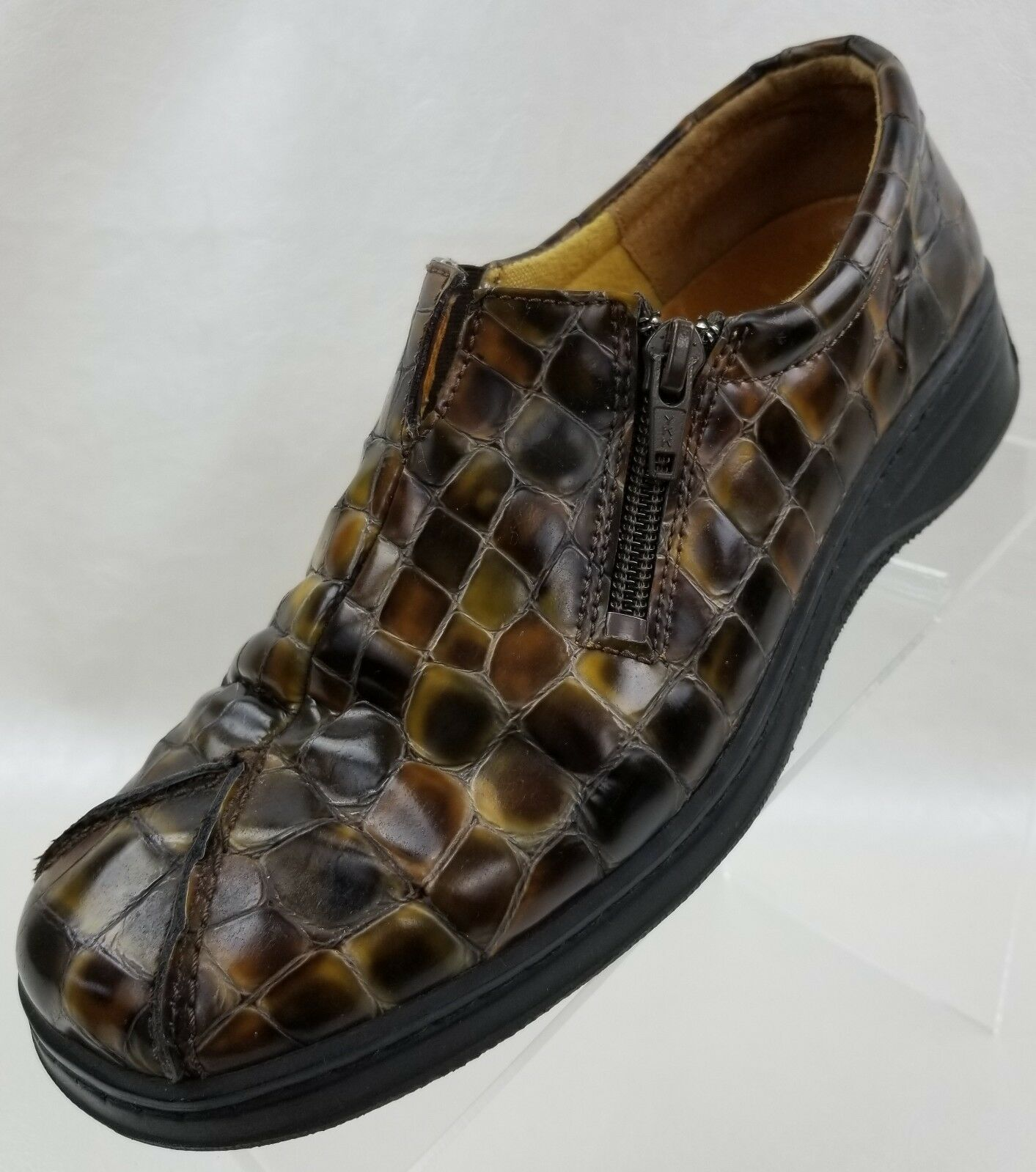 Helle Comfort By Romu Loafers Zip Womens Brown Croc Print shoes US 8.5