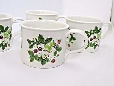 Portmeirion Summer Strawberries Drum Flat Cup Mug Set of 4  Made in England