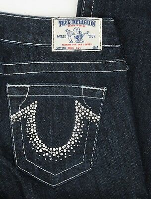 Womens NEW True Religion Jeans Swarovski Crystals Boot Cut sz 28 Sparkle Stretch