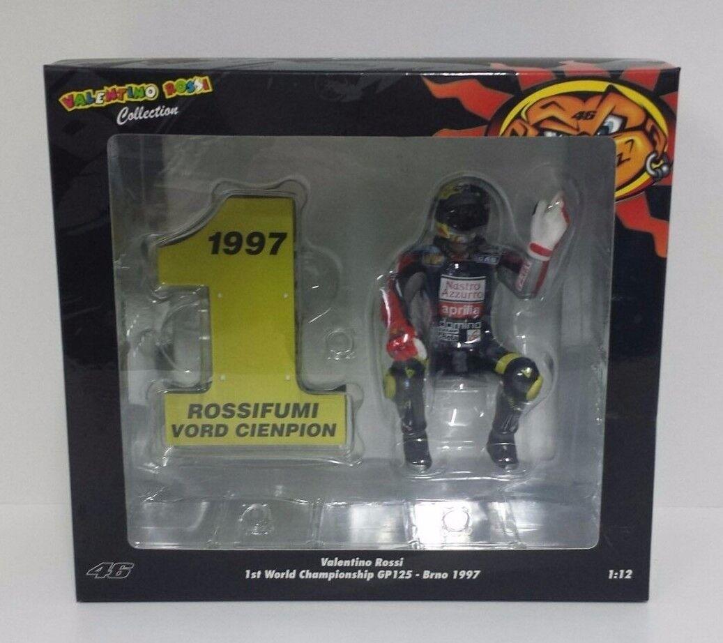 MINISTRAMPS VALENTINO ROSSI 1  12 FIGURE 1ST 125cc VÄRLDSMYNDIGHET GP BRno 1997