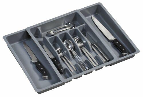 grau Maße: 29-50 cm x 38 x 6.5 cm Kunststoff 30087 Besteckkasten ausziehbar