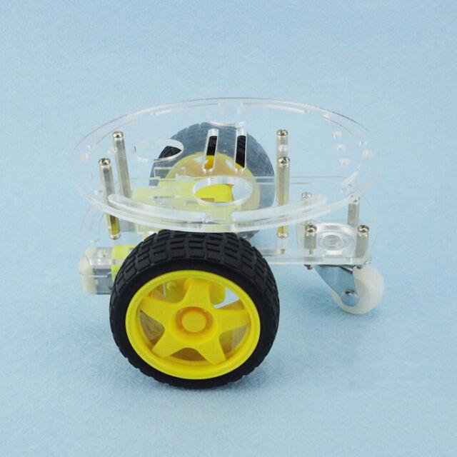 Neuf 1Set 2WD Mini Round Double-Deck châssis de Robot Voiture DIY pour Arduino