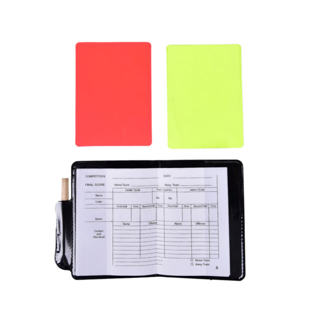 1 Pc Professional Soccer Referee Wallet Red Card Yellow Card Pencil Log Book _D