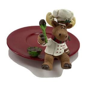 Yankee-Candle-CHOCOLATE-MOOSE-Jar-Holder-Cookie-Plate-Retired-Piece-Decor