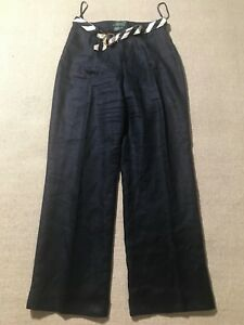 Lauren-Ralph-Lauren-Women-039-s-Navy-Blue-Linen-Dress-Pants-W-Belt-Sz-6-F2