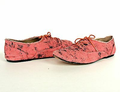 Women Rachel Roy Pink Oxford Flat Shoes Loafer Frayed Canvas Leather 8.5 Jorgein