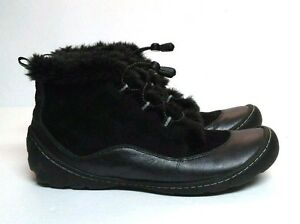Clarks Privo Boot Black Leather Fur Trim Lined Ankle Women