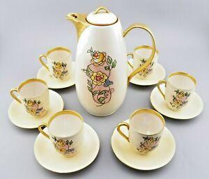 VTG Epiag Czechoslovakia 14 pc. Tea Set Gold Trim Flowers Teapot 6 Cups/Saucers