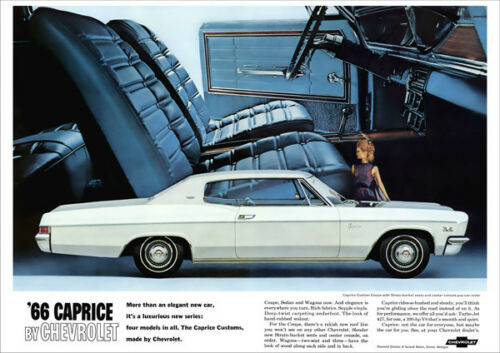 CHEVROLET 66 CAPRICE CUSTOM COUPE RETRO A3 POSTER PRINT FROM ADVERT 1966