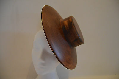 Larger wooden hat block/ Fascinator/ Percher with pill box shaped crown 295 mm