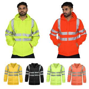 Hi-Vis-2-Tone-Outwear-Reflective-Sweatshirt-Jacket-Hooded-Work-Hoodie-Top-Hoody