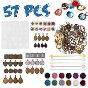 57pcs-Resin-Casting-Molds-Kit-Silicone-DIY-Mold-Jewelry-Pendant-Mould-Craft-Set