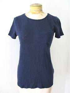 Boden blue 100% linen knit t-shirt top braided rope cutout crisscross back US 2