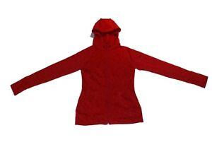 Women-Athleta-Heathered-Red-Full-Zip-Running-Jacket-Hoodie-Fleece-Lined-Size-XS