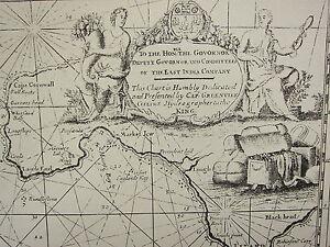 Vintage 1753 Facsímil Costa Tabla / Mapa Sicilia Islas Capa Cornwall Lands End