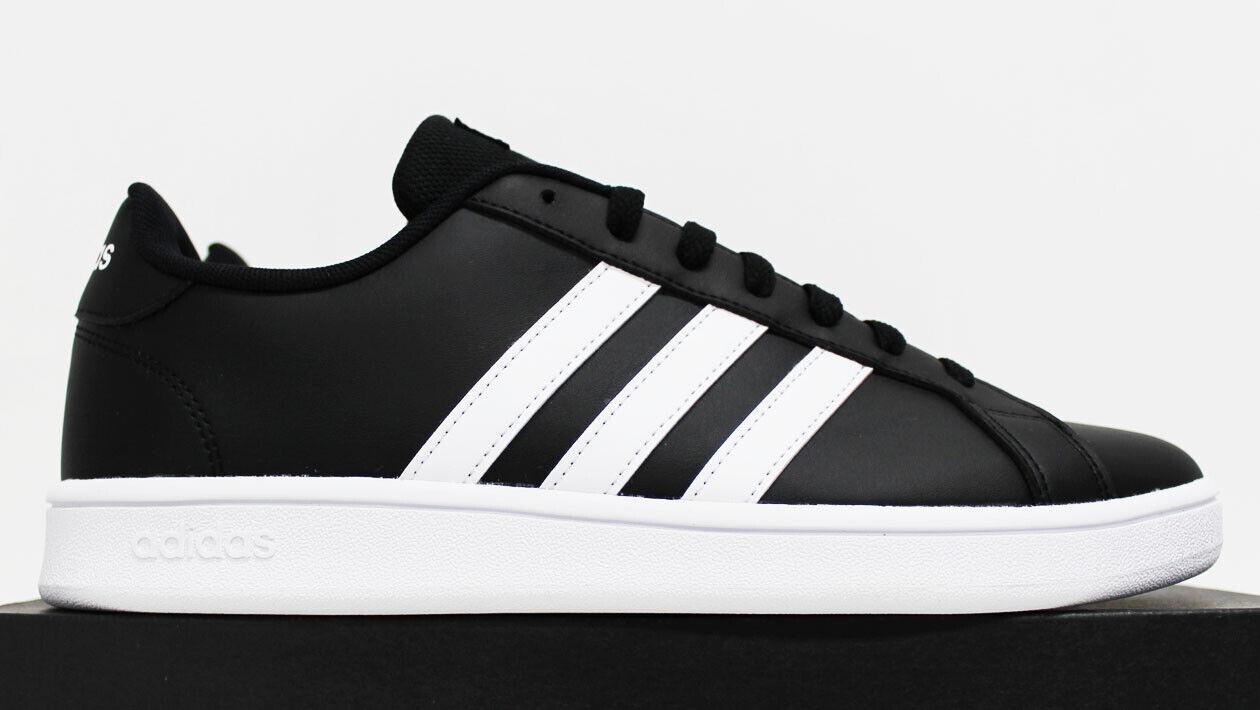 NIB ADIDAS Men's Grand Court Base Core-Black White Low Top Sneakers Tennis Shoes