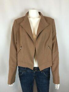 White-House-Black-Market-Womens-Blazer-Size-12-Brown-Open-Front-Jacket