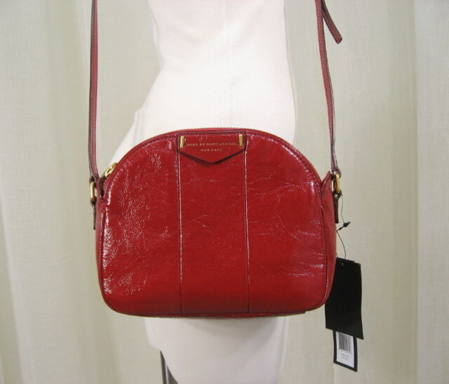 34099f4ec60 NWT MARC BY MARC JACOBS Downtown Lola Cabernet Red Patent Leather Crossbody  Bag