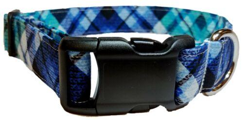 Sapphire Blue Plaid dog collar puppy pet supplies gift bias distressed teal aqua