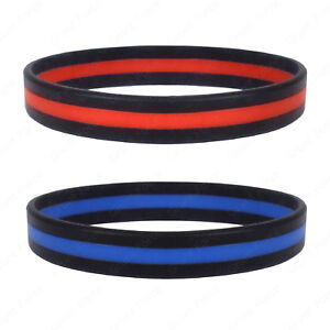Image Is Loading Silicone Jelly Bracelet Thin Blue Line Or