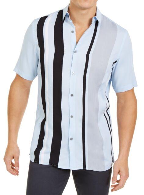 Alfani Mens Shirt Black Blue Size Medium M Button Down Striped Collared $55 #224
