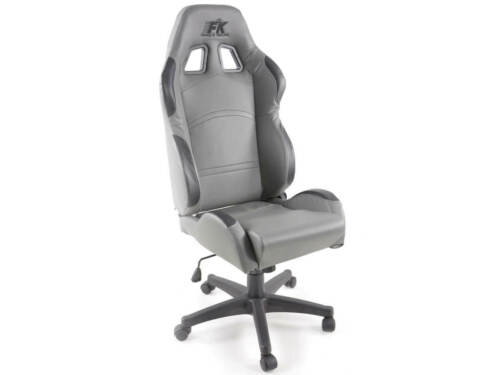 Office chair Sports Bucket Seat Grey Faux Leather Garage Home Workshop