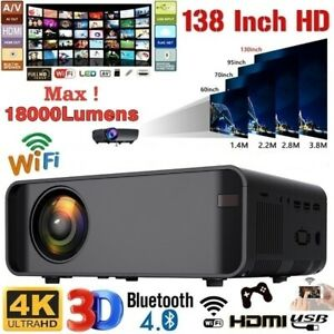 LED Smart Home Theater Projector 4K Wifi 7000 Lumens 1080p H