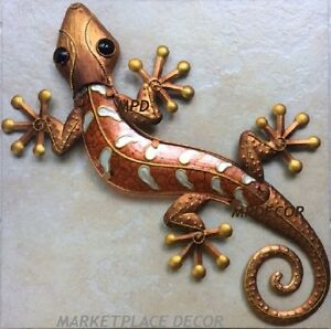 Details About Large 23 Copper Gecko Lizard Wall Art Handcrafted Glass Metal Indoor Outdoor