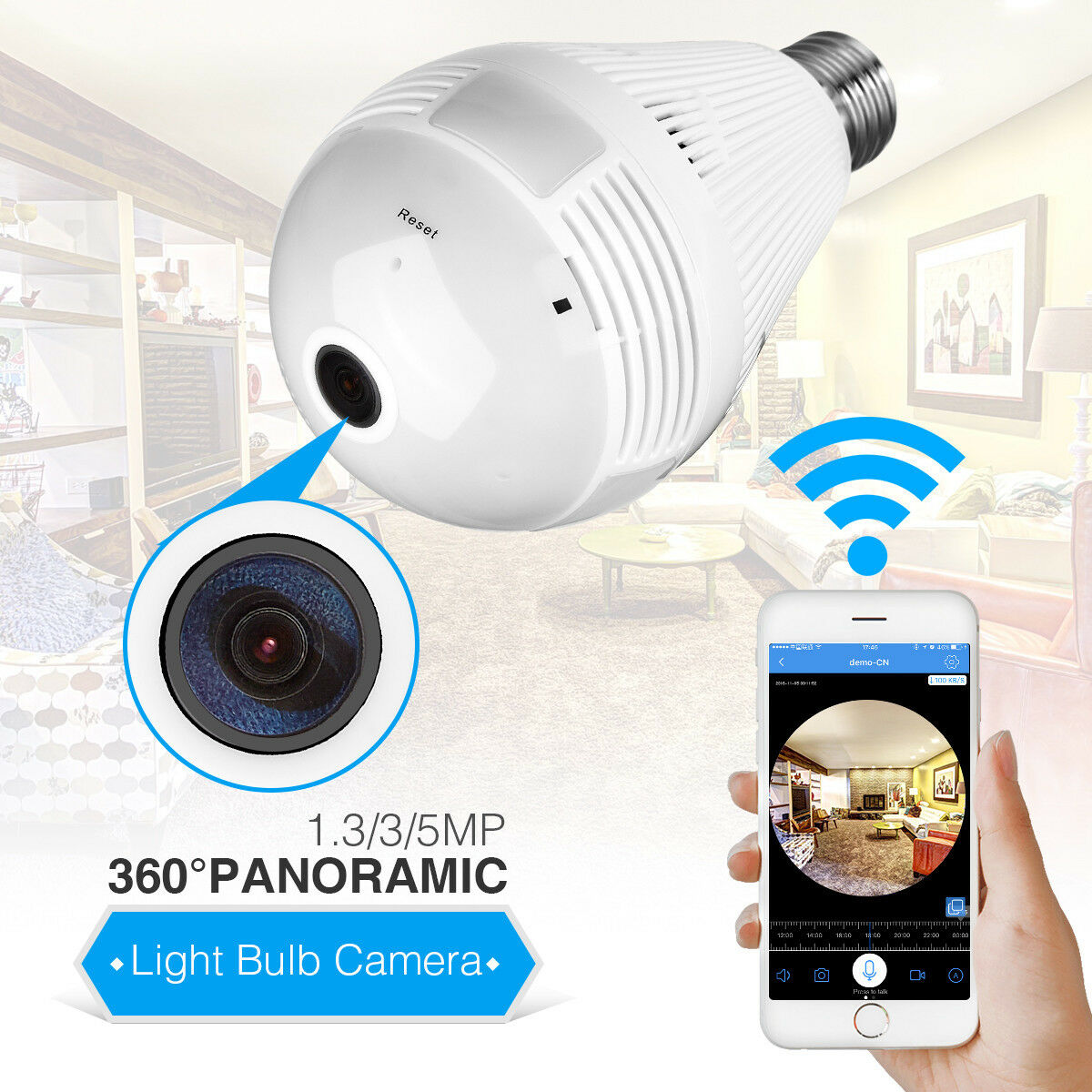 1080P Mini Security IP Camera 360° Panoramic SPY Hidden Wifi Wireless Light Bulb 5